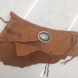 Bandalero Patricia Wolf Hand-Painted Leather Belt